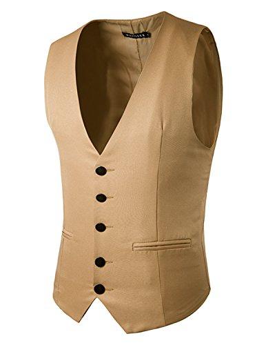 YCHENG mode Single-breasted Gilet Veste Sans Manche Homme Slim fit Gilets Marron 1