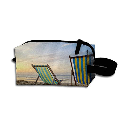 LKJHG 2 braune Holz-Klappstühle am Strand, Kosmetiktasche für Reisen, Mädchen, Oxford Kulturbeutel, elegant, tragbar zum Aufhängen, Organizer für Make-up, Federmäppchen