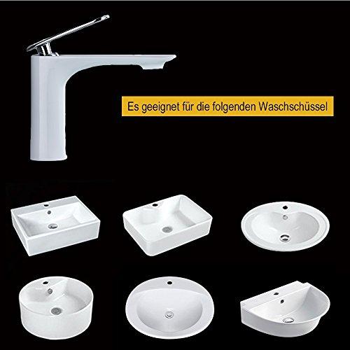 Homelody – Edle Waschtischarmatur, Einhebel, ohne Ablaufgarnitur, Keramik-Kartusche, Weiß-Chrom - 5