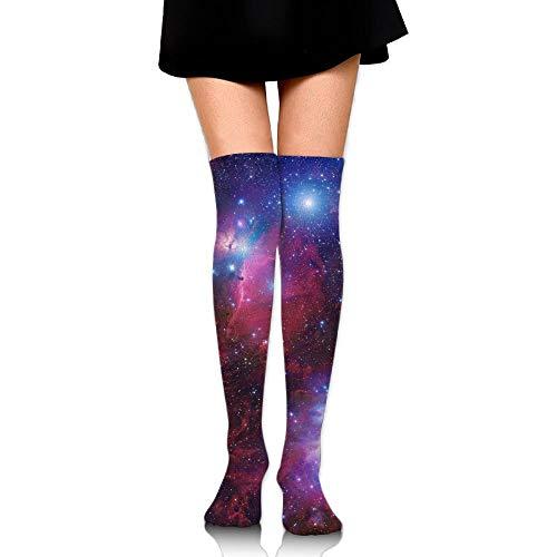 Bai Qian Frauen crew socksc oberschenkel hoch über knie raum galaxy star nebula lange rohr dress legging sport kompression fußballstrumpf 19,68 zoll (50 cm)