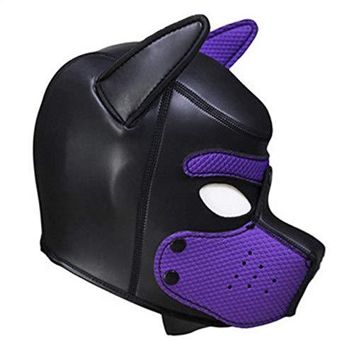 Lovearn Gepolsterte Welpenhaube aus Latex benutzerdefinierte Tier Kopf Maske Neuheit Kostüm Hund Kopf Masken Cosplay voller Kopf mit Ohren 10 Farbe (Lila)