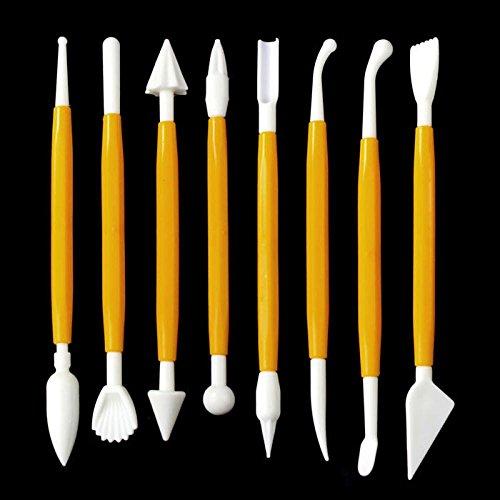 Winkey Tortendekorationswerkzeuge für Zuckerguss, Fondant, Modellierwerkzeug für Kuchendeko, 8-teiliges Set, plastik, gelb, 11x4.5cm