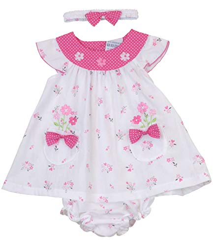 BabyPrem Baby Kleid 3-teiliges Set Blumen und Bögen Rosa Candy 80-86cm 12-18 Monate