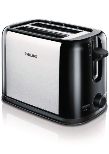 Philips HD2586 / 20 - Tägliche Sammlung Toaster schwarz / silber, 7 einstellbare Stufen der Toaststeuerung, Abbrechen-Taste, um den Toastvorgang jederzeit zu stoppen