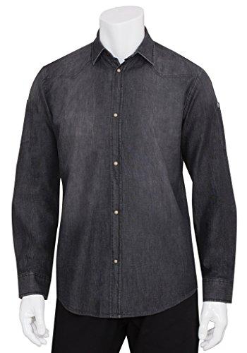 Chef Works slmde007-blk-2X L Denim Long Sleeve Shirt, SLMDE007-BLK-XS -