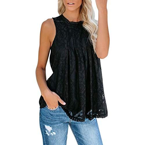 us Size Lace Crochet ärmellose Bequeme Bluse Tops, Sexy Halter aushöhlen Nightout atmungsaktive Tanks Camis ()