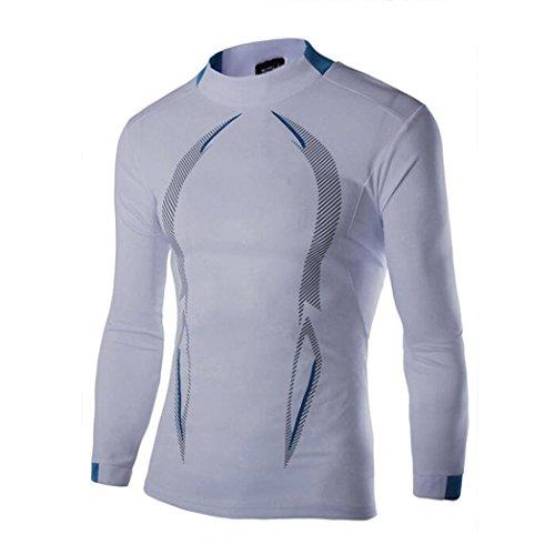 Womens Camp-shirt (HCFKJ T-Shirt Blusen Herren, Lässige Herbst Winter Neue Stil Langarm T-Shirt Geschwindigkeit Trocken Top Bluse (M, WH))