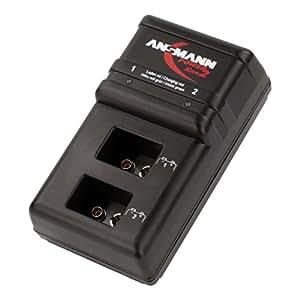ANSMANN Powerline 2 Akku-Ladegerät für zwei 9V E-Block Akkus (jeder Schacht einzeln überwacht, autom. Abschaltung, Erhaltungsladung nach Ladevorgang)