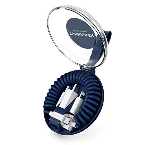 VONMÄHLEN allroundo All-in-One Ladekabel in Marine mit 5 Anschlüssen & Spiralkabel - USB-A, Micro-USB, USB-C - 6in1 Universal Kabel mit Adapter zum Laden für Handy & Mobile Endgeräte -