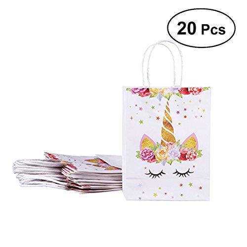 20 bolsas de papel BESTOYARD, diseño de unicornio, para decoración de fiesta de cumpleaños, para regalo, bolsas de dulces, para bodas y regalos (2 amarillos)