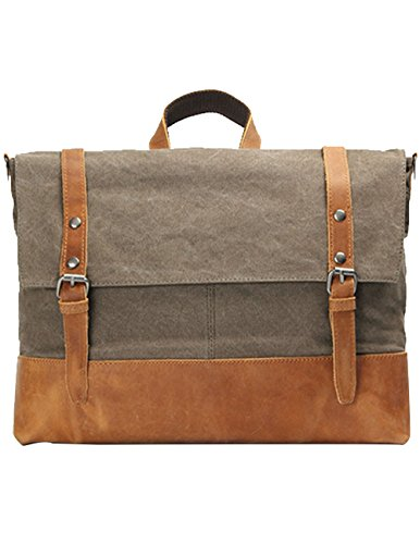 Menschwear Vintage Canvas Messenger Bags Casual Spalla Dell'imbracatura Pacchetto Daypack Verde Cachi