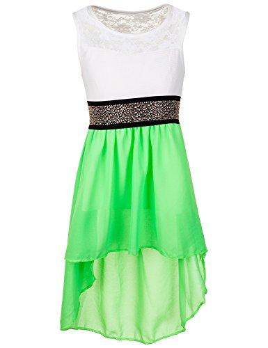 Süße Grün Kleid Kinder (Festliches Sommerkleid in vielen Farben #361ngn Neon Grün Gr. 6 / 110 / 116)