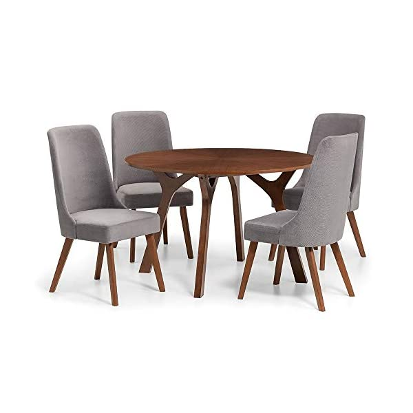 Julian Bowen Huxley Dining Set Julian Bowen Glamourous curved back for added comfort Modern walnut tapered legs Finished in a dusk grey chenille fabric, suitable for a range of décor 2