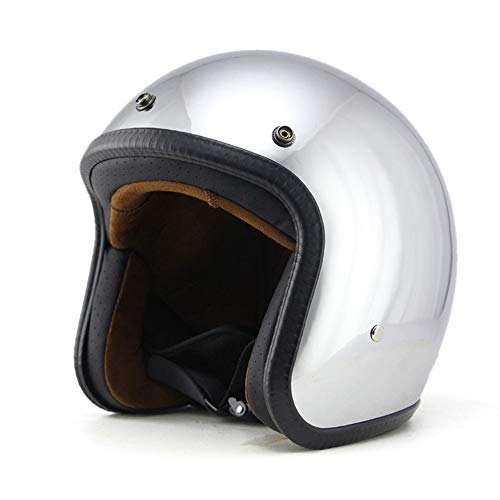 Woljay 3/4 Offener Sturzhelm, Helmet Motorrad-Helm Jet-Helm Scooter-Helm Vespa-Helm Halbhelme Motorrad Helm Flat Chrom (XL)