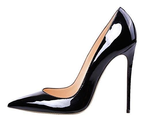 Guoar High Heels Damenchuhe Große Größe Pumps Einfach Stil Spitze Zehen Hand gemacht Stiletto Büro-Dame Party Hochzeit Schwarz Lackleder