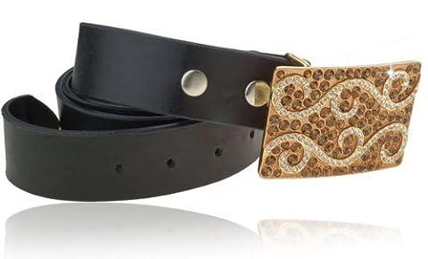 Boucle de ceinture avec Cristaux Swarovski Topaze clair &sur un rectangle de cristaux Swarovski Plaqué or 14 carats et boucle de la