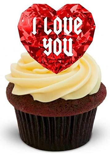 HERZ JUWEL - 12 essbare hochwertige stehende Waffeln Kuchen Toppers - RUBY HEART JEWEL I LOVE YOU ()