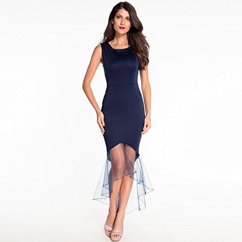 CU@EY 2017 Neue Europäische und Amerikanische runden Ausschnitt ärmellos Tüll Fish Tail Kleid Abendkleid, Deep Blue, L