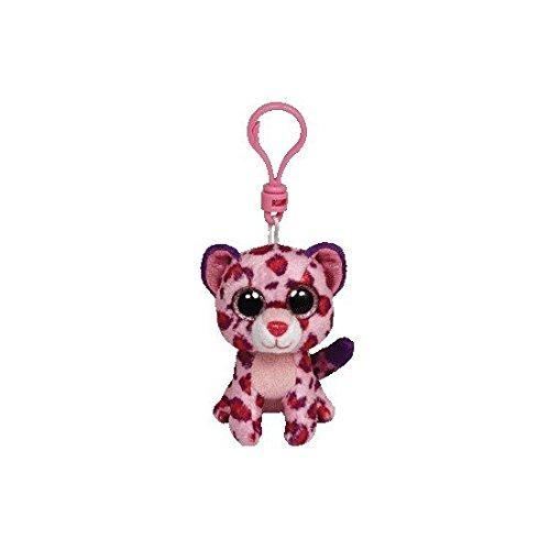 Carletto Ty 36585 - Glamour Clip Leopard mit Glitzeraugen Glubschi's Beanie Boo's, 8.5 cm, pink