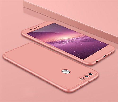 MAOOY Schutzhülle für Huawei Honor 8, Hochwertigem Stoßfest Schützenden für Huawei Honor 8, Ultradünn 3in1 Stoßfänger Hartplastik Hülle für Huawei Honor 8, Rose Gold