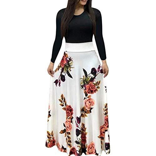 Damen Langes Kleider Langarm O-Ausschnitt Blumedruck Kleid Langes Maxikleid Cocktailkleid Swing-Kleid Faltenrock Patchwork Partykleid Ballkleid ()