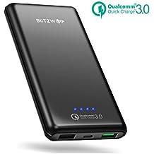 [Quick Charge 3.0] Batería Externa 10000mAh, BlitzWolf Cargador Portátil Qualcomm Carga Rapida 3.0 2 Puertos Power Bank Salida 5V/3.6A para iPhone X 7 6s 6 Samsung Android Móviles iPad Tabletas PSP Cámaras