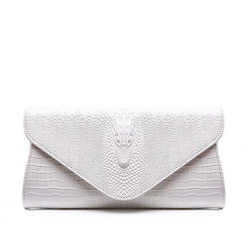 Subobo Damen Clutches Damen Leder Clutch Party Armband Tasche Hochzeit Abendtasche Damen Hangbag weiß