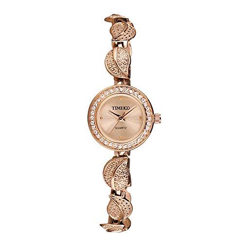 Time100 moderne Armbanduhr Damenuhr Quarzuhr Mädchenuhr Edelstahl Gold #W40121L.03A