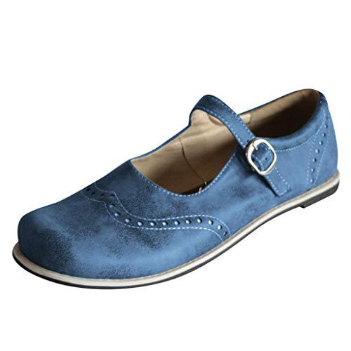 Womens Vintage Mary Jane Schuhe, Mode runde Spitze Brogue Lederschuhe, Schnalle Strand Casual Slip-on Schuhe breite Füße römischen Sandalen (Janes Mary Vans)