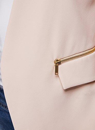 oodji Collection Damen Taillierte Weste mit Reißverschlüssen Beige (3300N)
