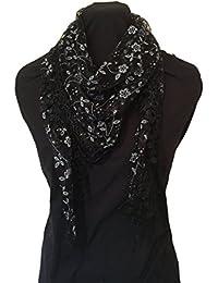 Noir avec des paillettes dentelle blanche fleur écharpe. Foulard triangle  avec bordure en dentelle. 7b63815a2f9