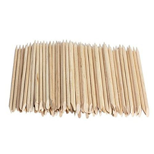 Dealglad® per Nail Art, in legno, 100 pezzi, colore: arancione, bastoncini per cuticole trainato rimossi e utensili per Manicure e Pedicure