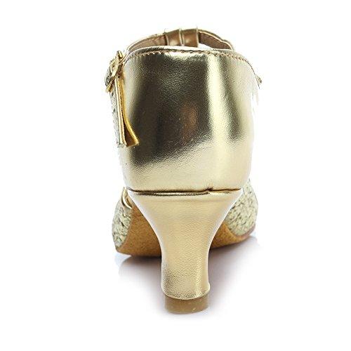 HROYL pour l'femme Chaussons de danse/Chaussons de danse latine en satin F7-259 5CM or