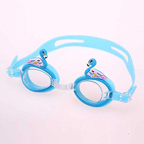 YZGS High Definition Waterproof and Fog -Proof Children Boys and Girls Swimming Glasses Baby Cartoon Cute Lens Adjustable Lake Blue Swan
