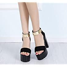 a6ead05915e GTVERNH-La Primavera Y El Verano Negro Zapatos De Plataforma Zapatos con  Tacones Altos Zapatos
