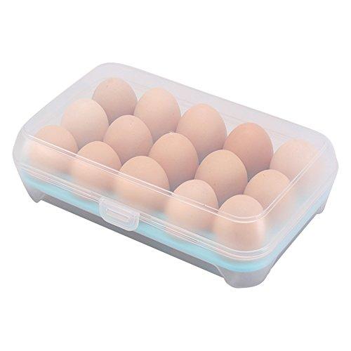 Da.Wa 1 Stück Küche 15 Boxen Von Eier Kühlschrank Crisper tragbare Picknick-Ei Aufbewahrungsbox Kunststoff-Ei-Box Blau -
