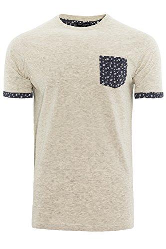 Brave Soul Herren Blusen T-Shirt weiß weiß Leo - Ecru Marl - White
