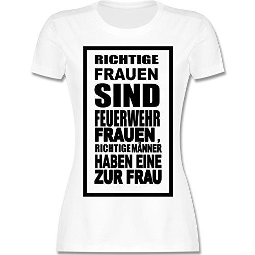 Feuerwehr - Feuerwehr - Richtige Frauen - tailliertes Premium T-Shirt mit Rundhalsausschnitt für Damen Weiß