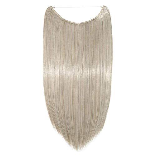 Extension filo invisibile capelli lunghi lisci fascia unica wire trasparente 50cm one piece hair extensions 3/4 full head - biondo cenere mix grigio argento