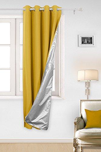 Deconovo Ösenvorhang Gardinen Oxford Vorhang Thermogardinen 240x135 cm Gelb