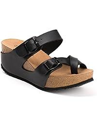 Ideal Shoes - Mules compensées nacrées Tahena