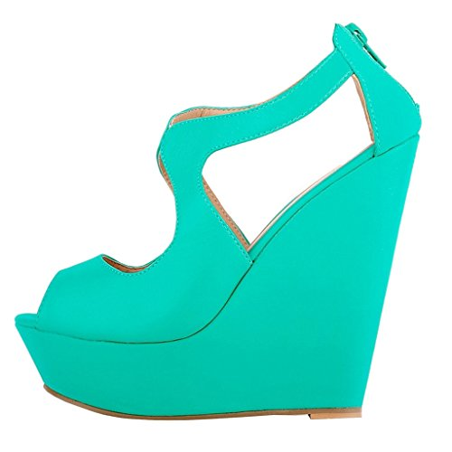 MERUMOTE Damen Y-007 Peep Toe Back Zipper Keil-Plattform High Heels Sandalen Hell Green-Matte