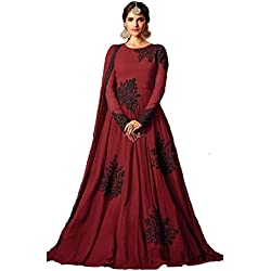 H Wine Red Embroidery Georgette Anarkali Semi-Stitched Suit, Free Size