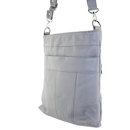 Silver Fever Messenger In Pelle Italiana Spalla Borsa A Tracolla Ipad Compatibile Unisex - Gray Gray