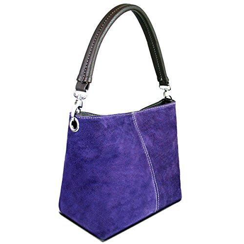 """Kleine Damen-Schultertasche, echtes italienisches Wildleder, Typ """"Hobo Slouch Bucket�?mit einem Riemen Violett"""