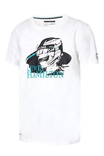 Lewis Hamilton F1Helm Design Herren T-Shirt 2017by Mercedes-AMG Formel 1Team, weiß (Grand-prix-helm)