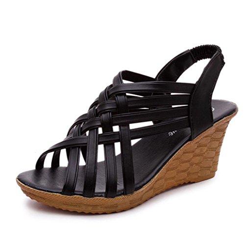 DM&Y 2017 Sandali con zeppa croce retr¨° romana con impermeabile tacchi alti sandali dal fondo pesante Black