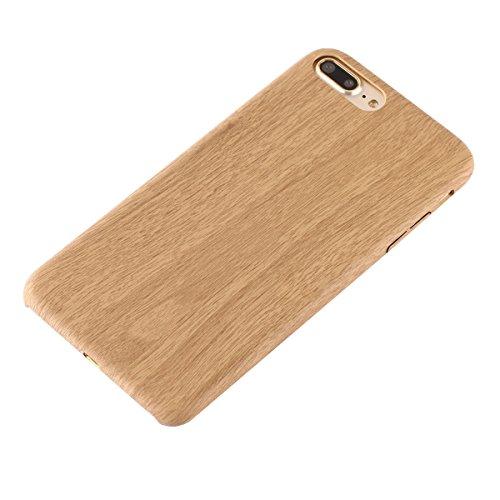 iPhone 7 Plus Hülle,Fodlon® Mode Holz Korn Weich TPU Telefon Schutzhülle-Rot Licht