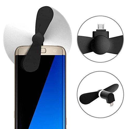 subtel© USB Ventilator leise klein Handyventilator Handy Smartphone Micro USB Mini-Ventilator Mobil zum Mitnehmen iPhone Fan Kunststoff schwarz biegsam Doppelblatt Handy-Ventilator Handventilator Smartphone Mini-usb