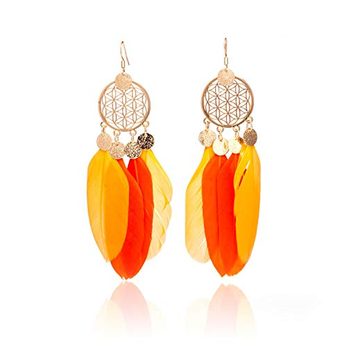 Sechs Color Fluorescent-set (HOTNING Ohrringe 6 Colors Fashion Jewelry Two Fluorescent Double Color Exotic Dangle Eardrop Earring Long Metal Tassel Feather Earrings For Women E020863b)